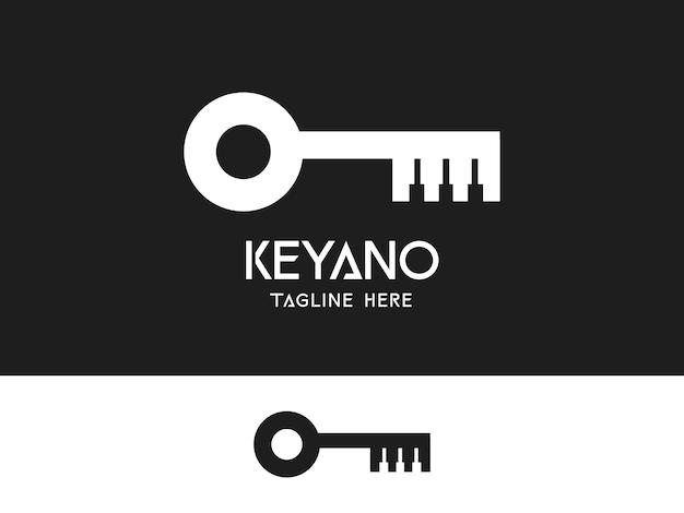 ピアノキーボードのユニークな豪華なロゴのコンセプトを持つモダンな不動産キー