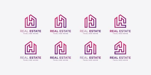 Коллекция логотипов современной недвижимости, градиент, строительство, premium векторы