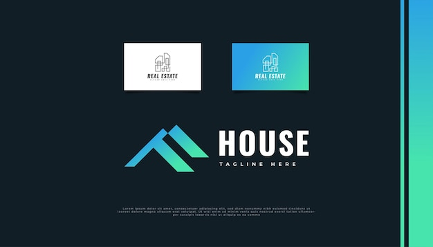 Modern real estate logo design with initial letter f in blue and green gradient.