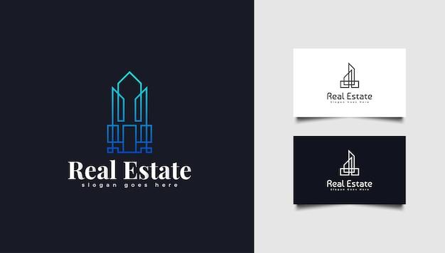 ラインスタイルのモダンな不動産ロゴ。建設、建築または建物のロゴデザインテンプレート