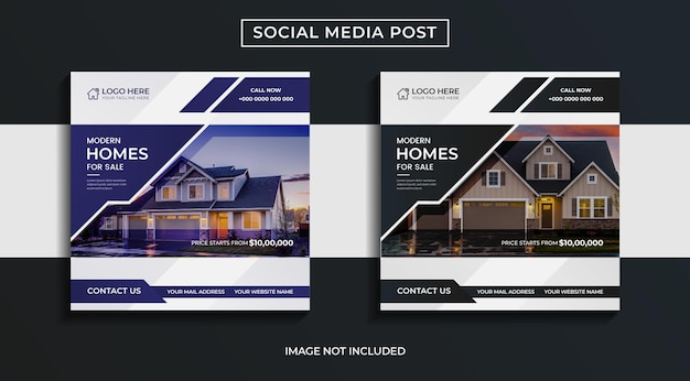 Дизайн постов в социальных сетях о современной недвижимости