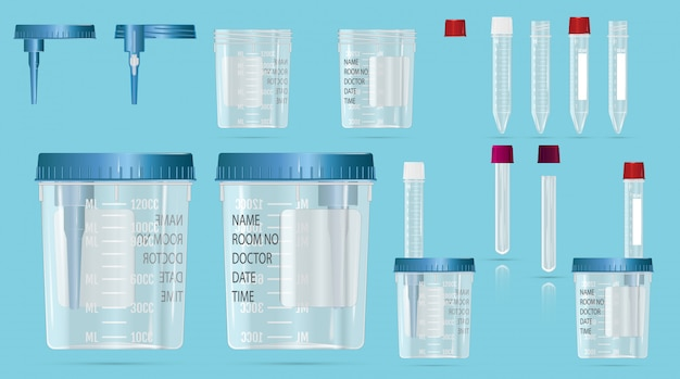 Modern realistic 3d  vials and vacuum containers