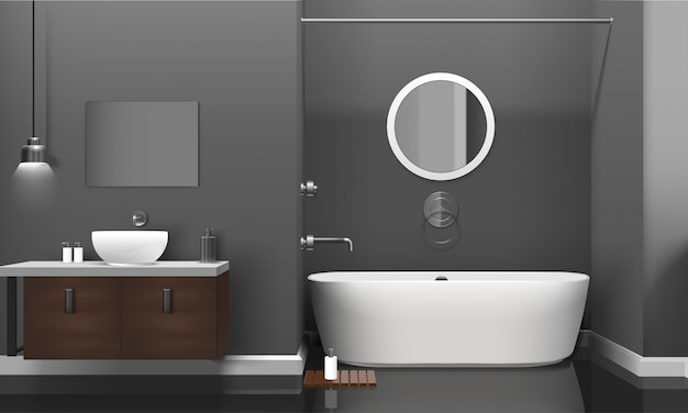 Modern realistic bathroom interior design