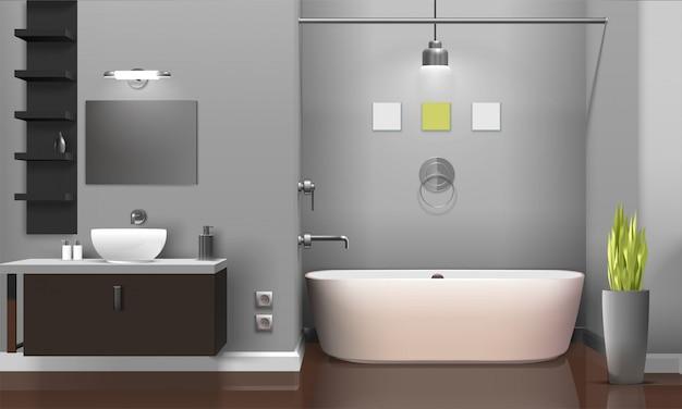 현대 현실적인 욕실 인테리어 디자인