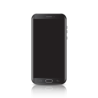 Modern realistic black smartphone with edge side style 3d