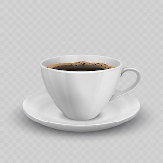 Современный реалистичный значок с видом спереди черная кофейная чашка