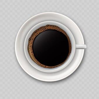 黒のコーヒーカップの上面図とモダンなリアルなアイコン。