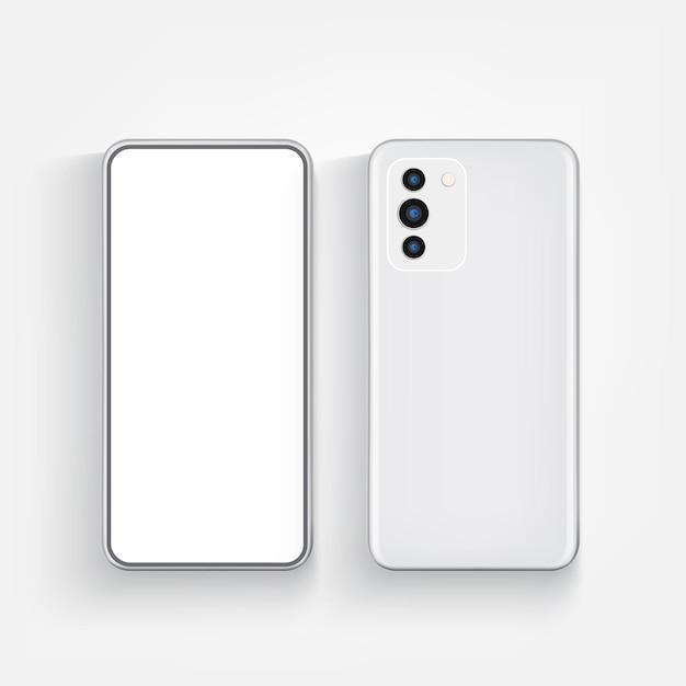 Современный реалистичный телефон спереди и сзади
