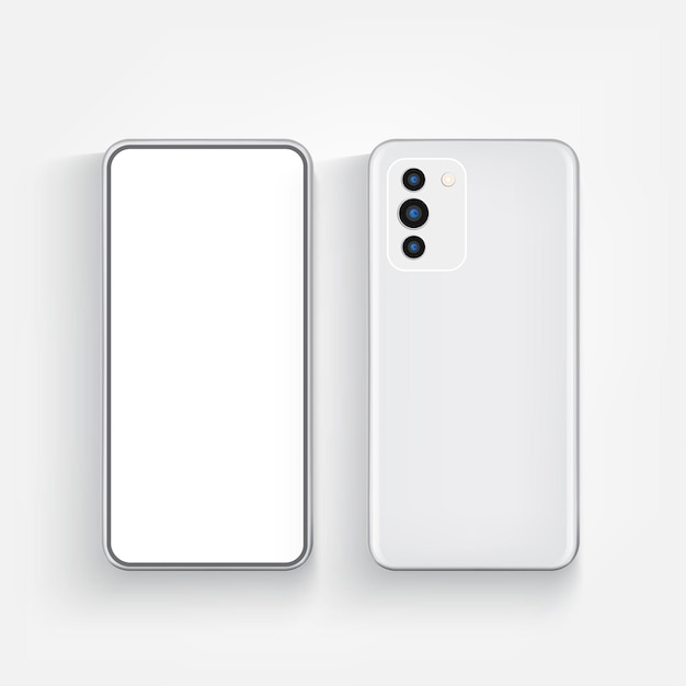 Modern realistic phone front and back view