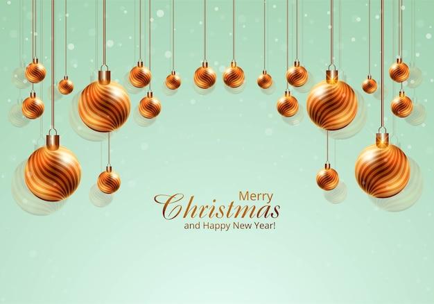 Modern realistic shiny christmas balls on card background