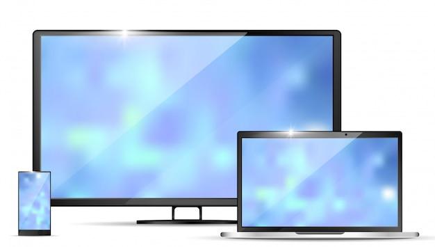 現代的なリアルなテレビ、ノートパソコンとスマートフォン