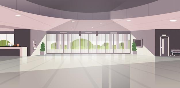 Modern reception area empty no people lobby contemporary hotel hall interior
