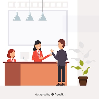 Modern reception composition with flat design