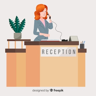 Modern reception concept with flat design