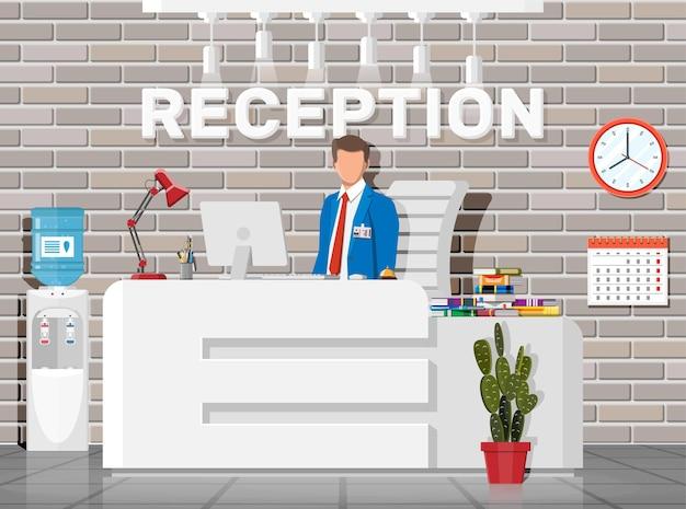 현대 리셉션 인테리어. 호텔, 병원 클리닉 또는 비즈니스 사무실 리셉션 데스크.