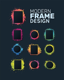 Modern rectangles and circles frames set splash design of decorative element theme