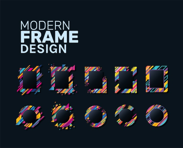 Modern rectangles and circles frames set striped design of decorative element theme
