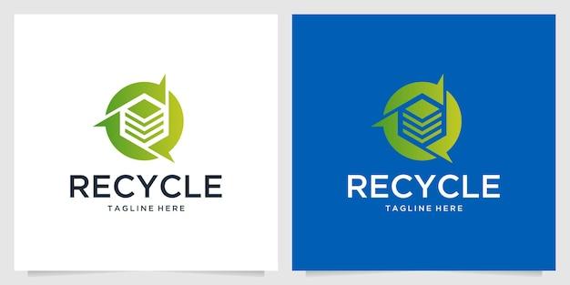 Modern recycle cube logo design