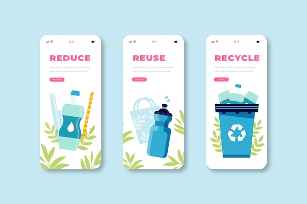 Modern recycle onboarding app screens
