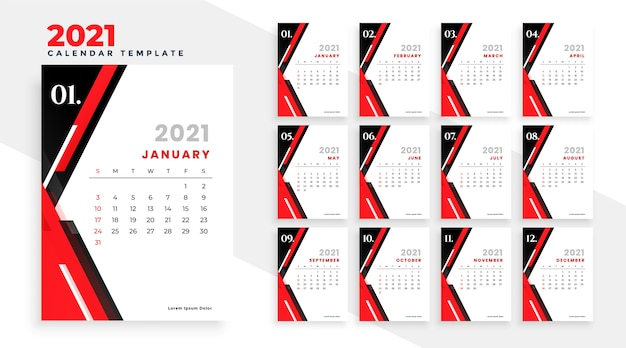 현대 빨간색과 검은 색 새해 2021 달력 디자인 서식 파일