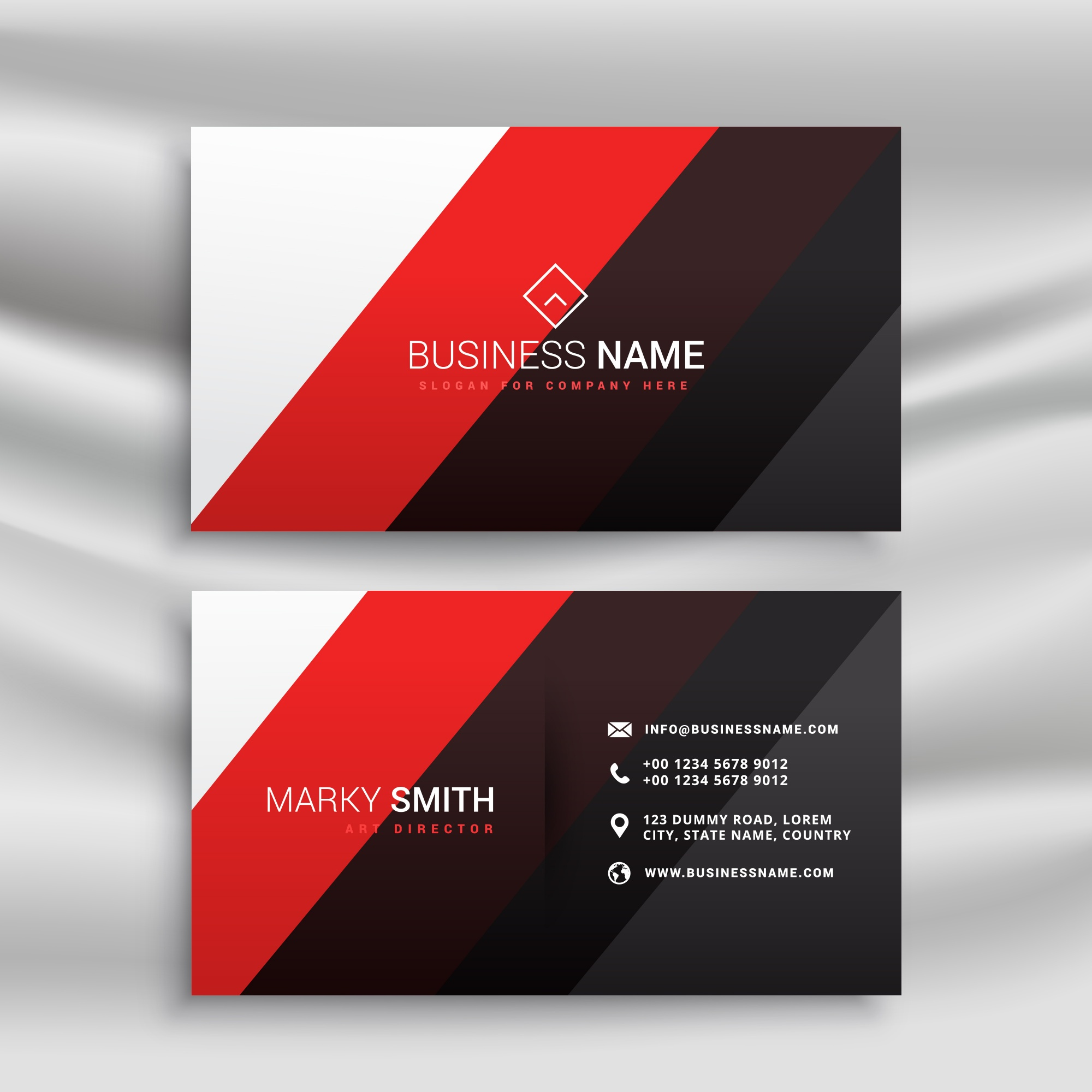 Modern red, black and black business card