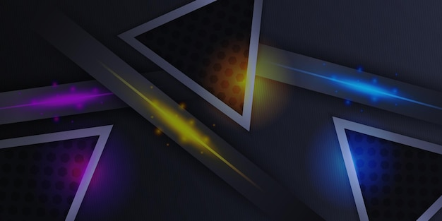 Modern red black blue yellow triangle 3d abstract background
