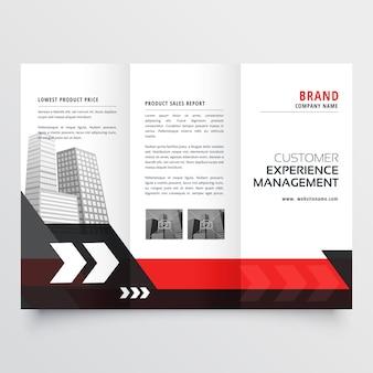 Modern red black three fold business brochure