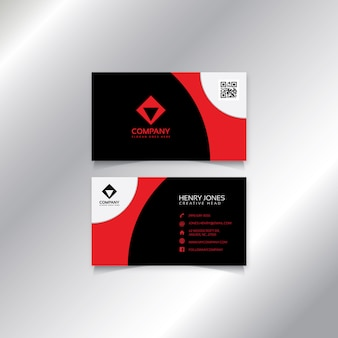 Modern red black and white business card