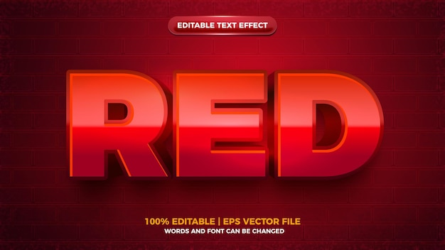 Modern red bold editable text effect