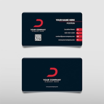 Modern red bold technology professional business card template