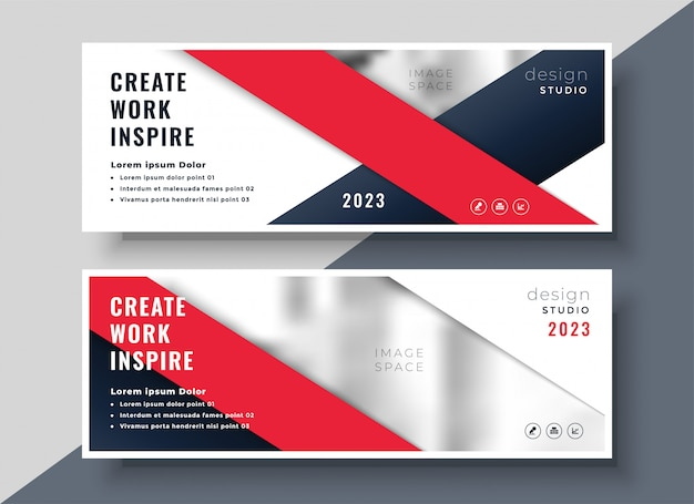 Modern red business banner  template