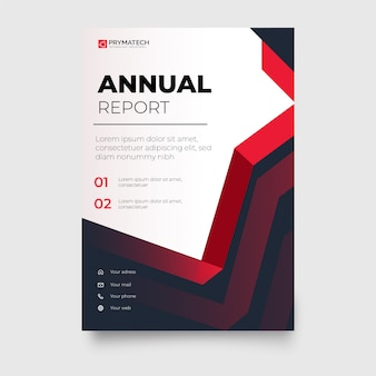 Modern red business brochure with abstract shapes