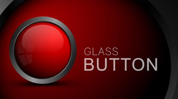Modern red button isolated on red