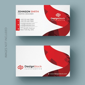 Modern red color business card template