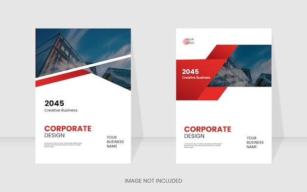 モダンな赤い色の企業の本の表紙のテンプレート