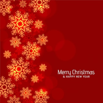 Modern red color merry christmas snowflakes background