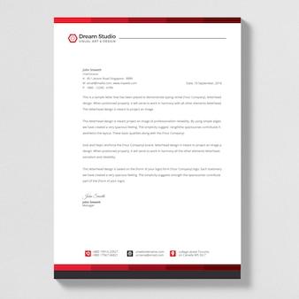Modern red corporate letterhead