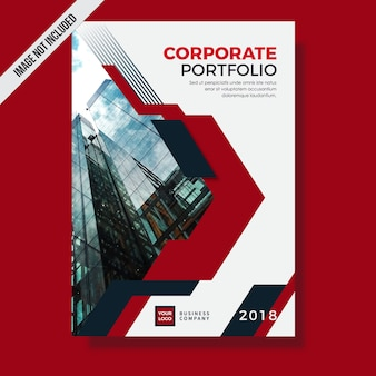 Modern red corporate portfolio template design