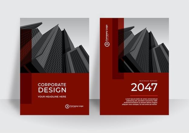 Современный красный шаблон оформления обложки. корпоративный годовой отчет или шаблон оформления книги