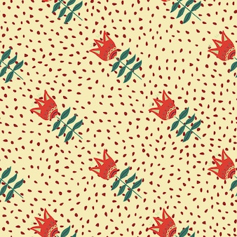 ドットの背景にモダンな赤い花の民芸シームレスパターン。