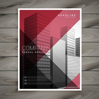 Modern red flyer with geometric shapes