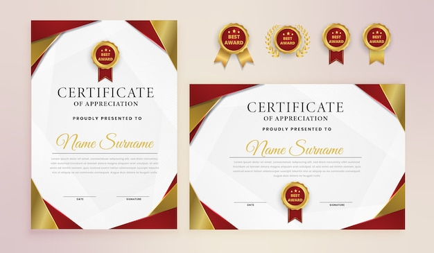 Modern red gold elegant award achievement certificate with badges