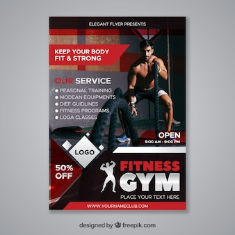 Modern red gym flyer template with image