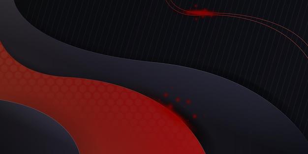 ダイナミックなオーバーラップレイヤーと光の装飾とモダンな赤いメタリック抽象的な3d背景