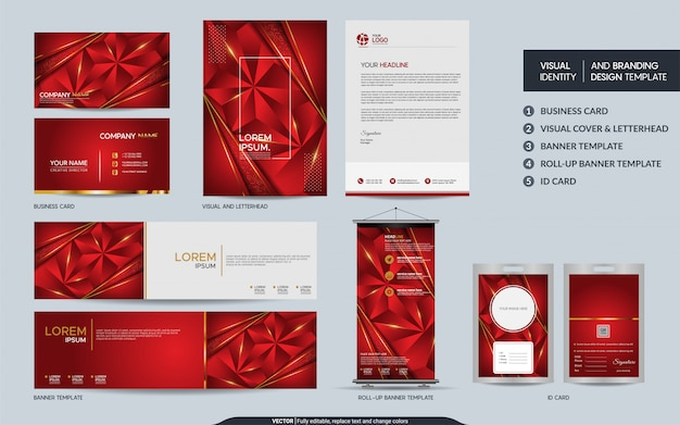 Modern red polygonal stationery mock up set and visual brand identity with abstract overlap layers