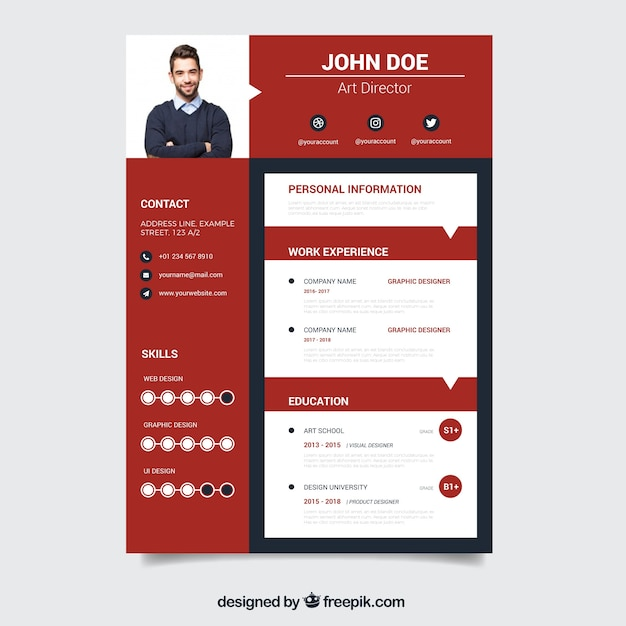 Free Modern Red Resume Template Vector - All New SVG to ...