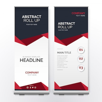 Modern red roll up with abstract shapes
