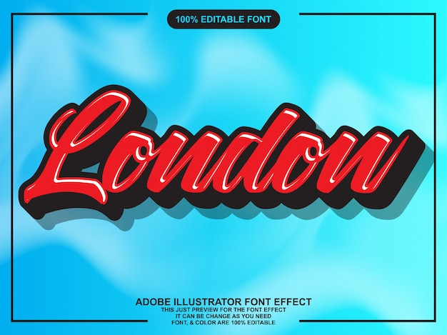 Modern red script editable typography font effect