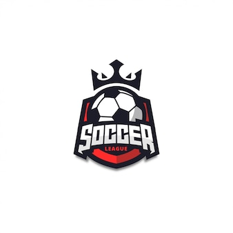 Modern red soccer logo badge