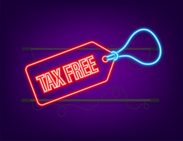 Modern red tax free sign. neon icon. vector stock illustration.